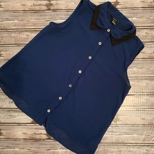 F21 Sheer Navy Blue Collared Button Down Tank